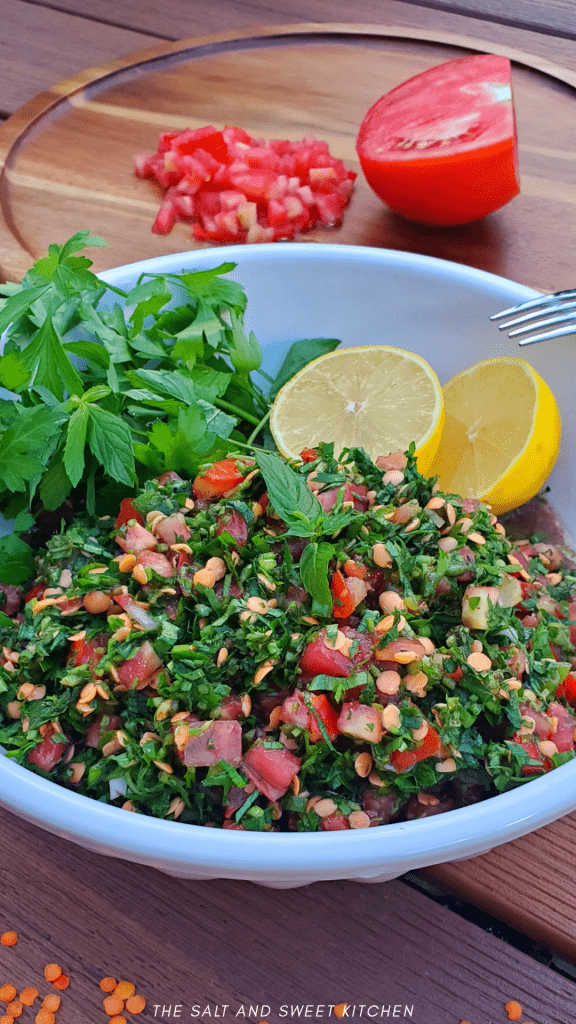If you are looking for lentil recipes, you will love this Lentil Tabbouleh Salad or Lentil Tabouli Salad with red lentils. #veganrecipes