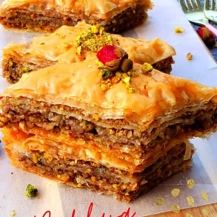 Making Baklava from scratch is a snap. This Baklava recipe has the best sugar syrup recipe as well. #lebanesebaklavarecipe