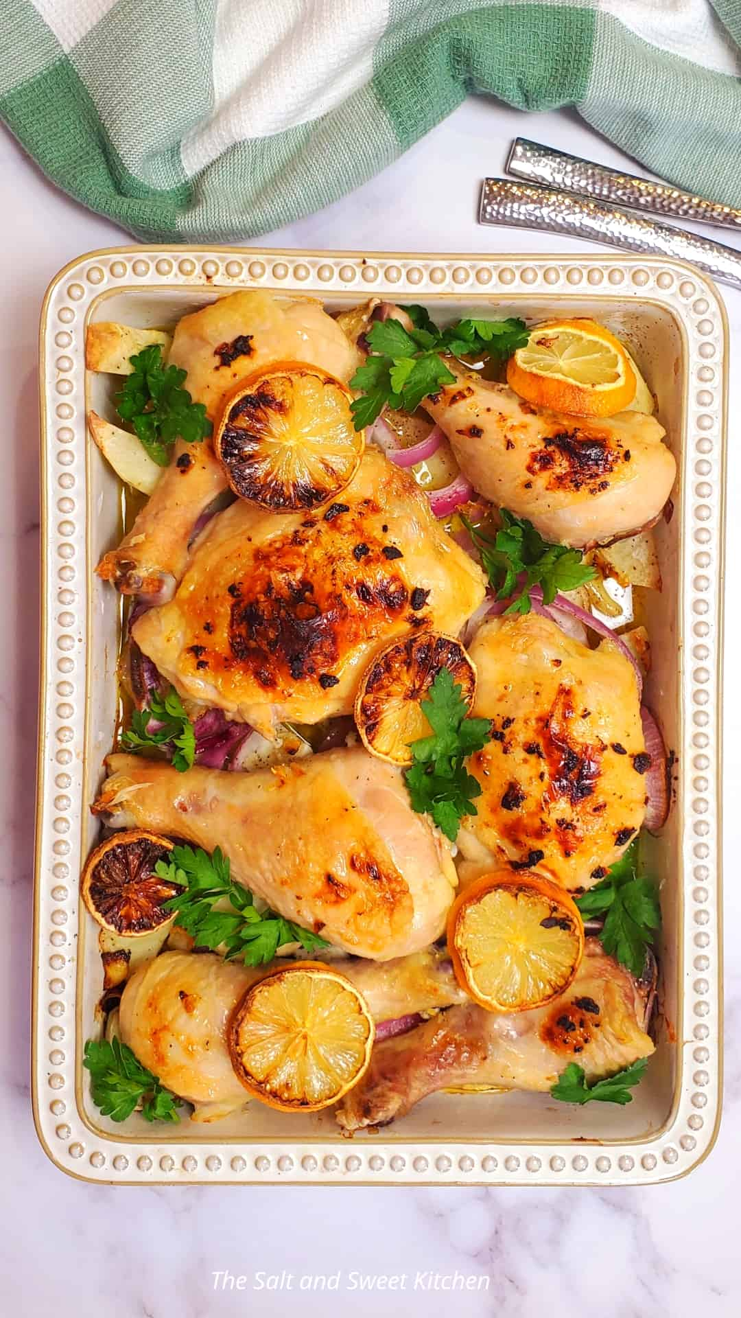 Lemon Garlic Chicken with Potatoes and Onions