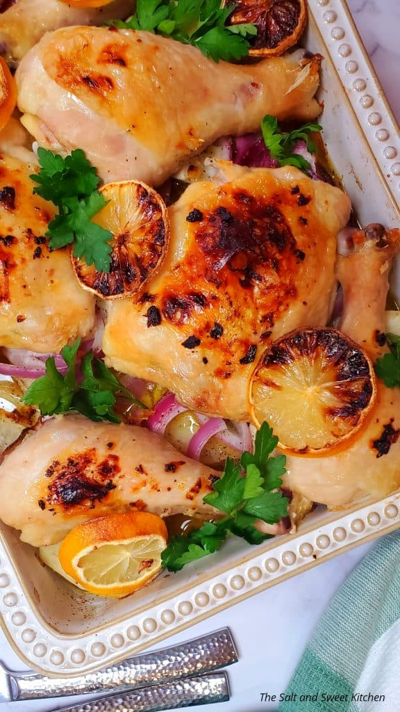 If you are looking for baked chicken thighs and legs recipes, you will love this lemon garlic chicken recipe.