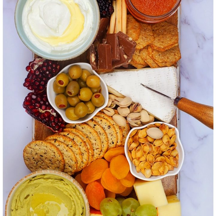 If you are looking for platter food ideas, you will love this holiday party platter. Serve this cheese and dip platter for Thanksgiving.