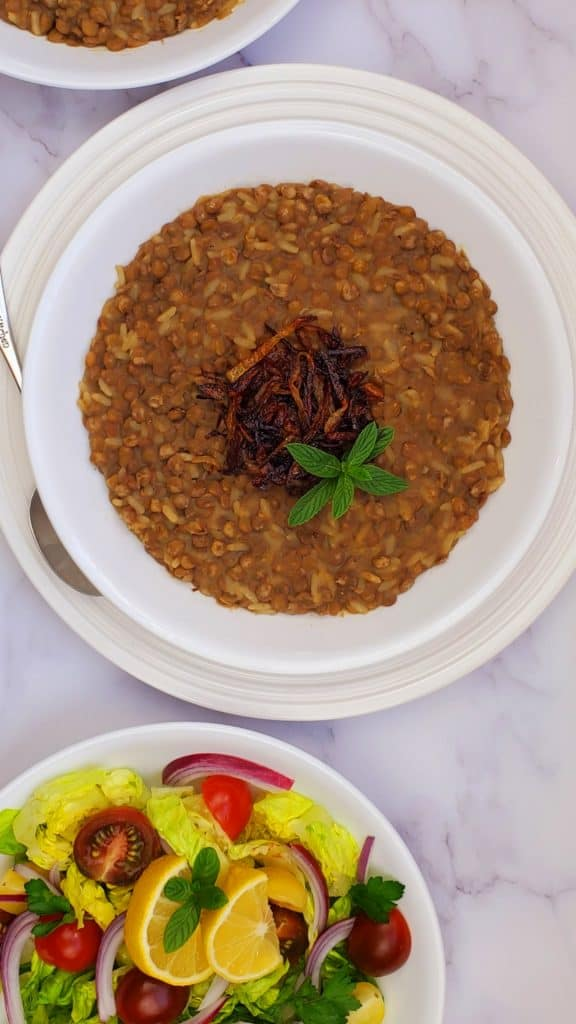 If you are looking for Lebanese recipes, you will vegan Lebanese Mujadara recipe.