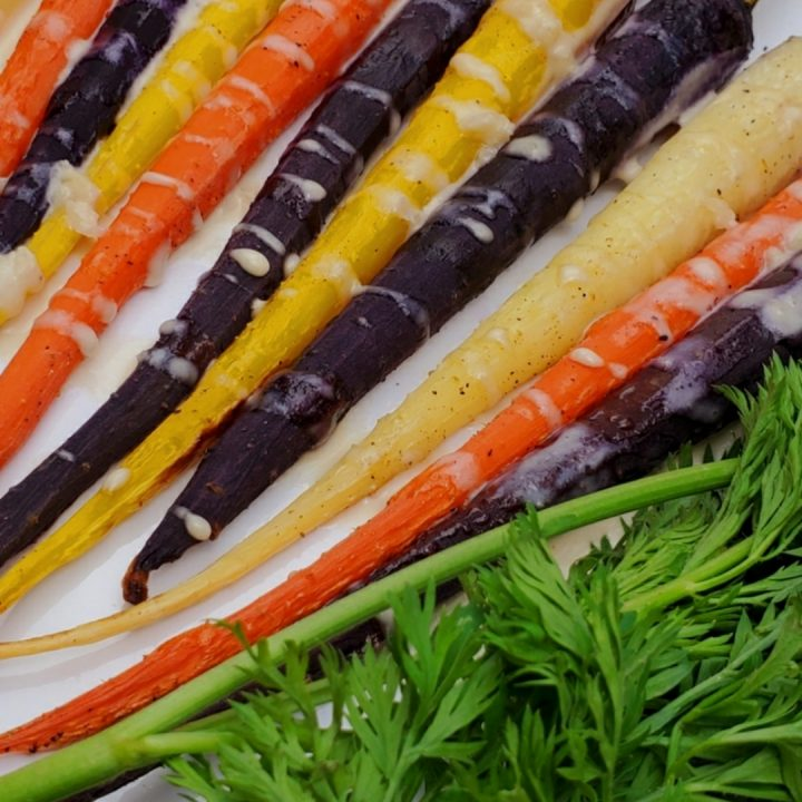 Rainbow Carrots with Tahini Sauce