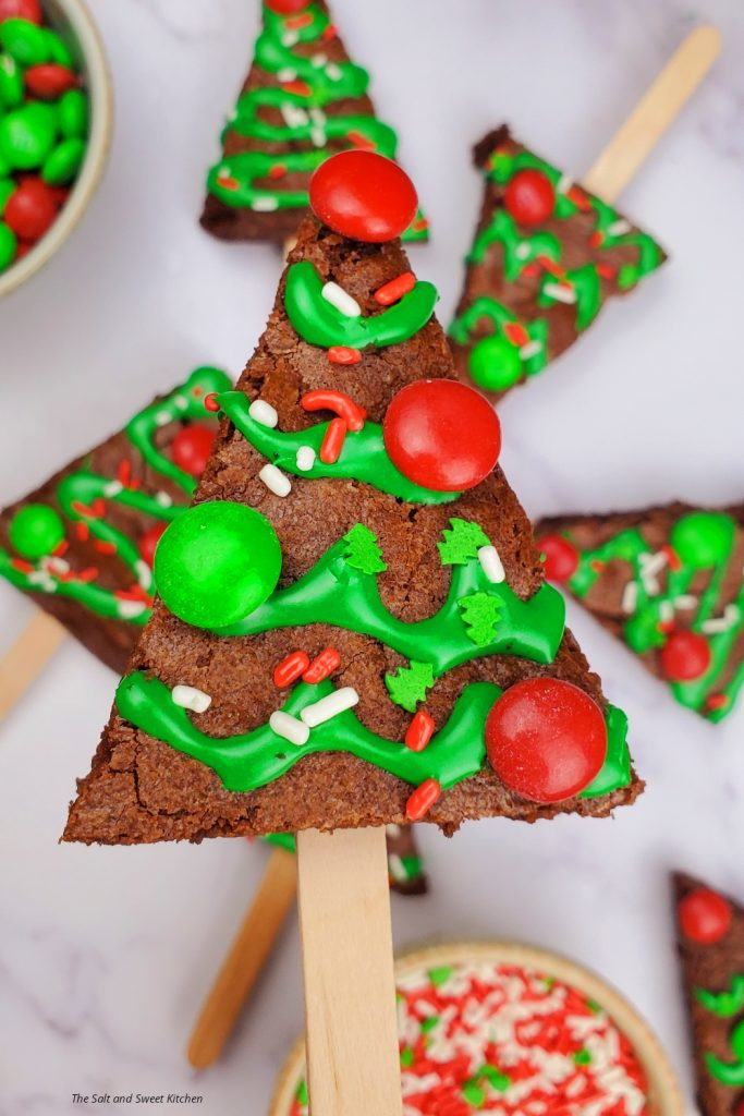 The Christmas tree brownies are the ultimate Christmas recipes dessert idea.