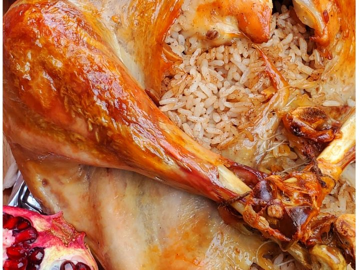 If you are looking for Christmas roasted recipes, you will love this Christmas roasted turkey with rice stuffing.