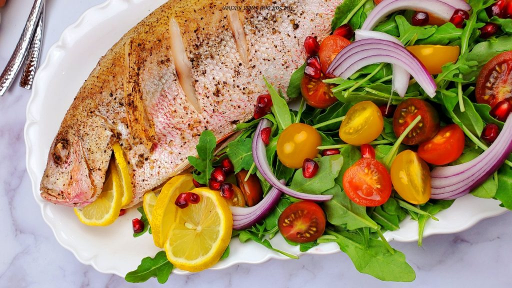 Roasted whole red snapper.