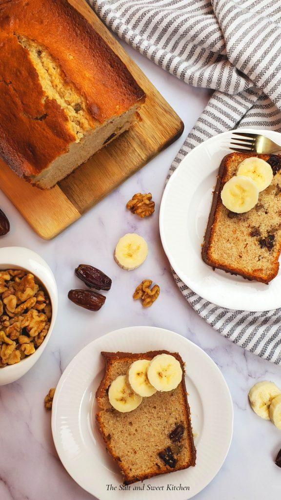 Banana date and walnut loaf.