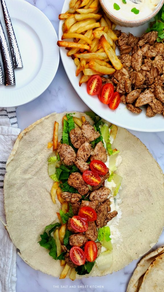 Shawarma chicken Lebanese street food. This chicken shawarma marinade is to die for!