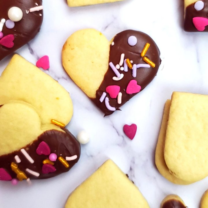 Chocolate dipped sugar cookies, perfect valentines day dessert.