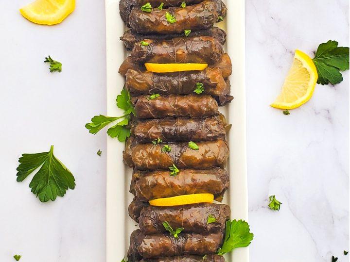 Lebanese Stuffed grape leaves also known as warak enab. The best Lebanese recipe!