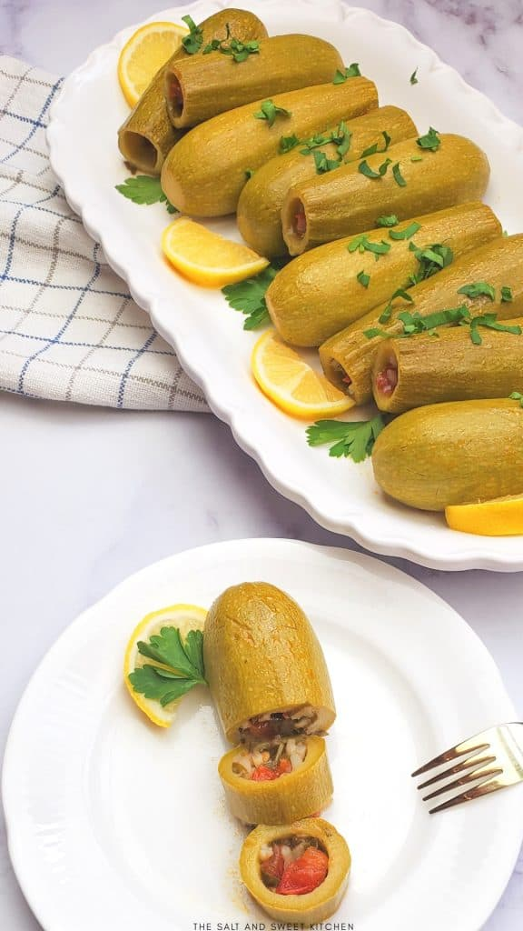 if you are looking for plant based recipes, you will love these vegetarian Lebanese Stuffed zucchini.