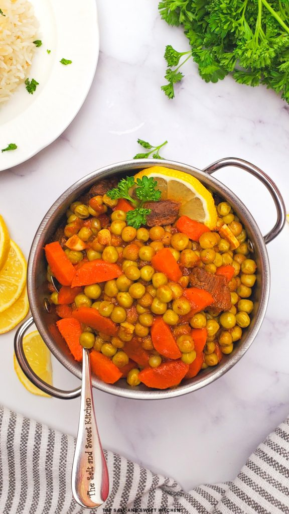 Lebanese peas and carrot stew- bazella w riz