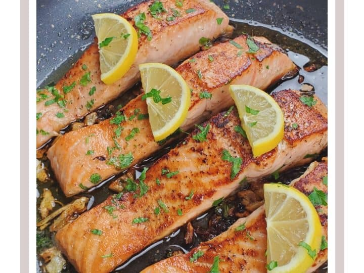 quick salmon recipe wit a butter garlic sauce.