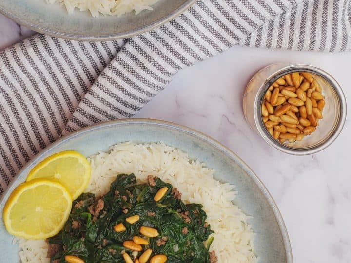 Lebanese spinach and rice/ Spinach and rice recipes healthy.