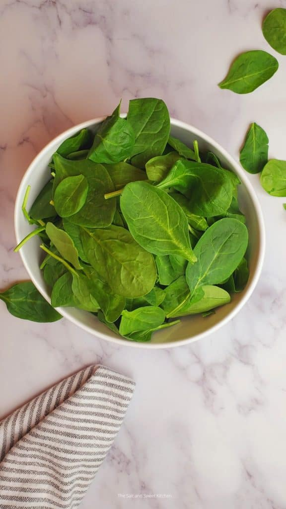 Fresh baby spinach from the salt and sweet kitchen.