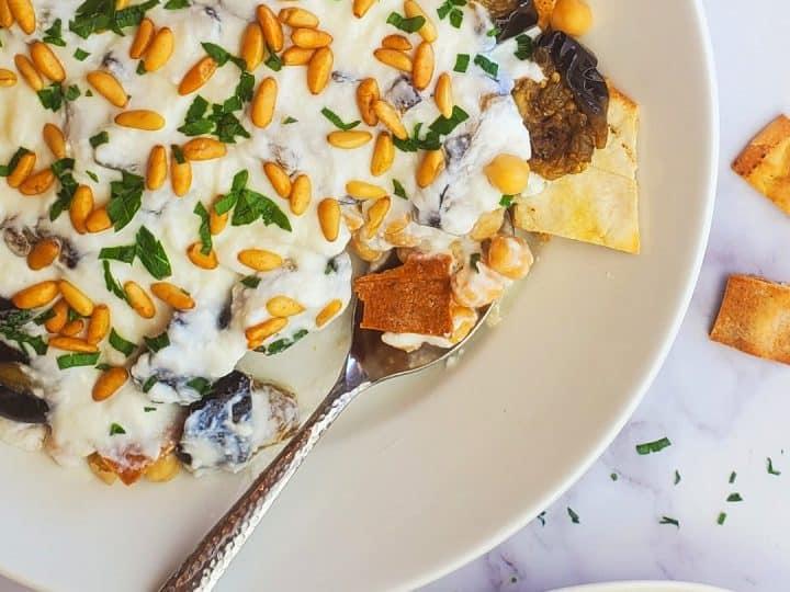 Lebanese fatteh recipe- fatteh eggplant- Lebanese eggplant fatteh