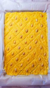 namoura spread on a baking tray