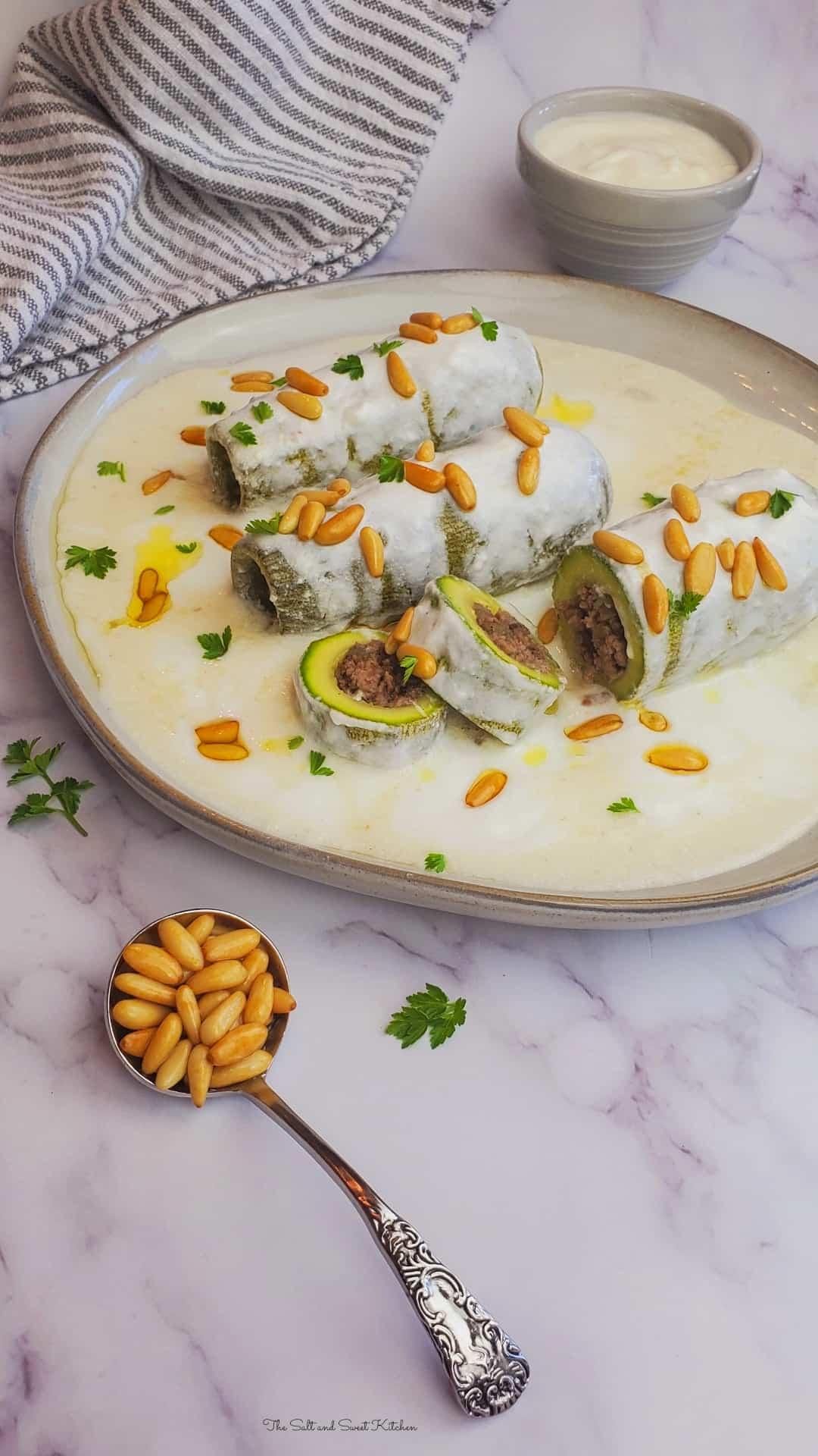 Kousa bil Laban- Stuffed Zucchini with Yogurt Sauce