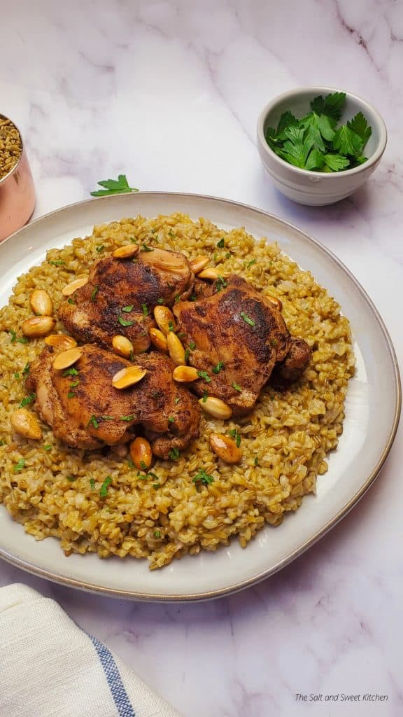 If you are looking for freekeh recipes, the you will love this Lebanese Chicken freekeh.