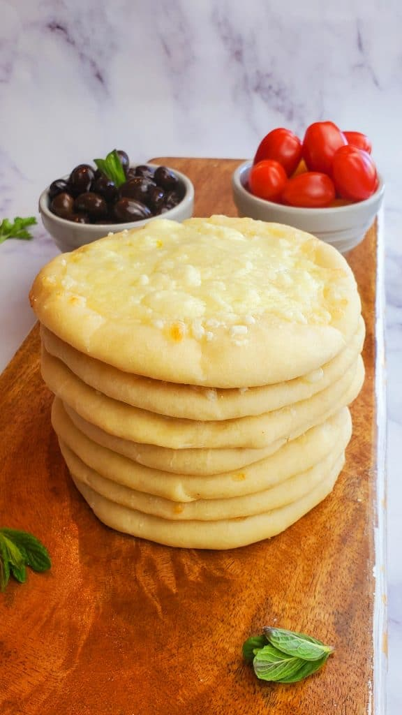 cheese pies stacked on one another