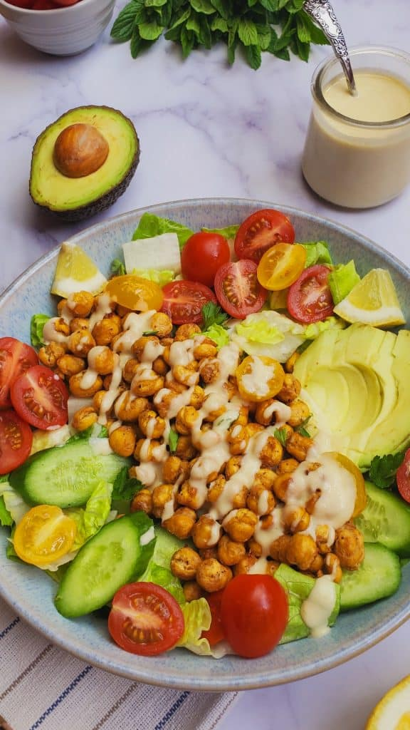 tahini dressing salad with air fryer chickpeas