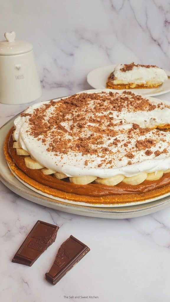 Banoffee pie on a white plate