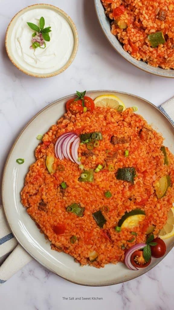 Lebanese bulgur pilaf