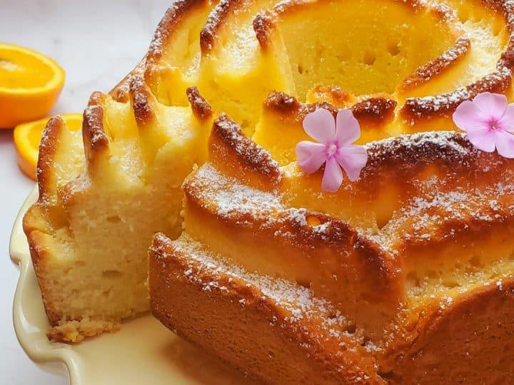orange bundt cake baked in a rose bundt cake